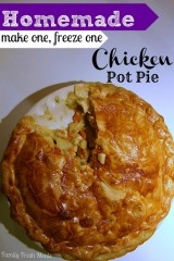 Homemade Chicken Pot Pie (make one freeze one, with vegetarian version)