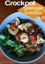 Crockpot Sausage & Tortellini Stew (with vegetarian version)