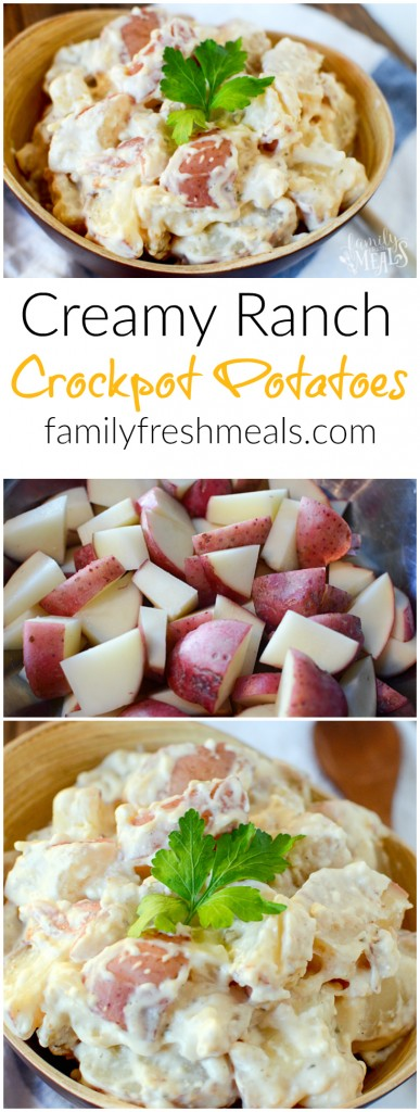 Creamy Ranch Crockpot Potatoes - FamilyFreshmeals.com - Pinterest