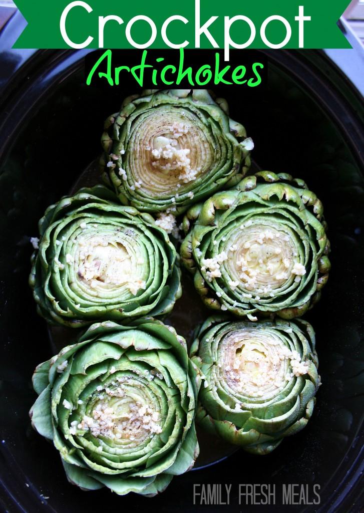 Crockpot Artichokes via FamilyFreshMeals.com