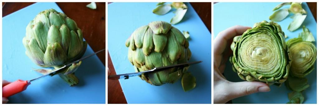 Trim artichokes