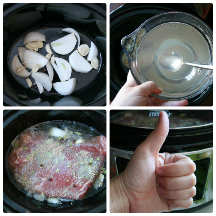 1-4 steps Crockpot Corned Beef