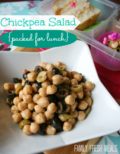This protein packed salad is easy AND healthy.  What more could you ask for? Chickpea Salad Recipe - FamilyFreshMeals.com