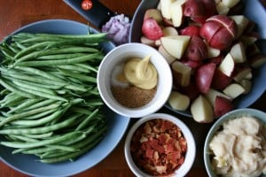 Creamy Crockpot Green Beans, Potatoes & Ham ingredients