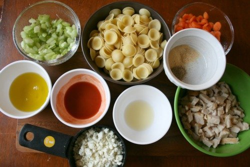 Buffalo Chicken Pasta Salad ingredients