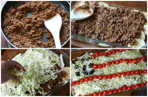 Easy Taco Salad Flag - Steps