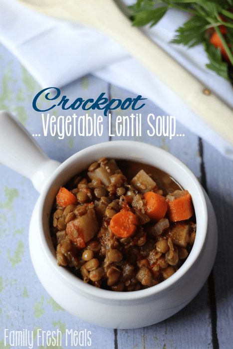 Easy Crockpot Vegetable Lentil Soup Recipe - FamilyFreshMeals.com