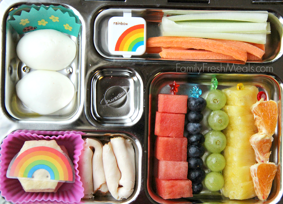 PlanetBox Review and Giveaway - Tons of lunchbox ideas for kids - Rainbow Lunch- FamilyFreshMeals.com