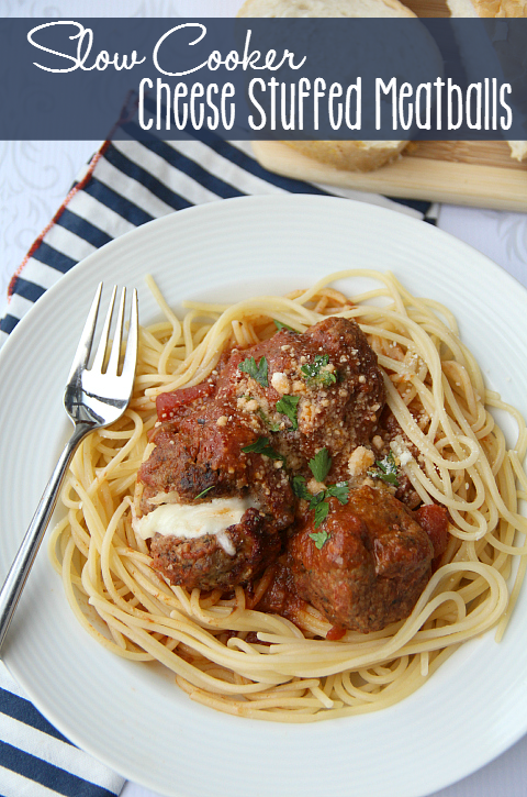 Slow Cooker Cheese Stuffed Meatballs - Family Fresh Meals