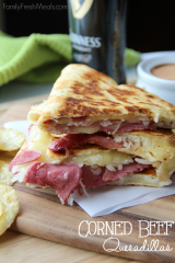 Corned Beef And Cabbage Quesadilla FamilyFreshMeals.com - Great Ideas for using up leftover corned beef!