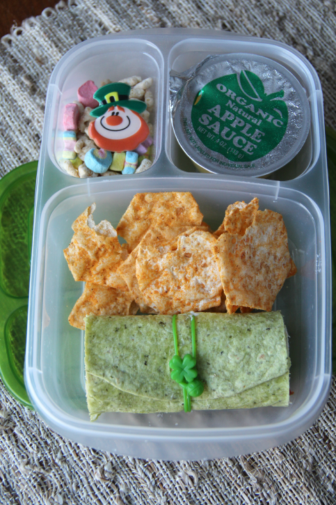 Easy St. Patrick's Day Lunchbox Ideas- Green Veggie Wrap
