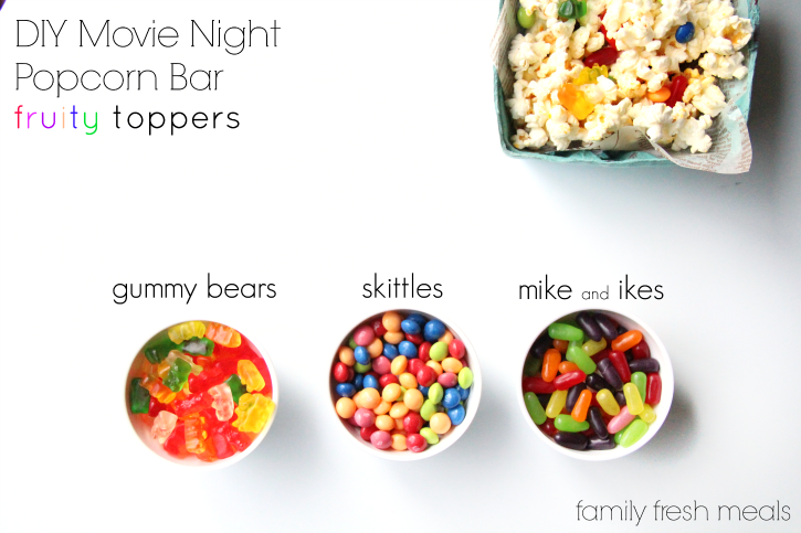 DIY Movie Night Popcorn Bar - Fruity topper ideas - FamilyFreshMeals.com