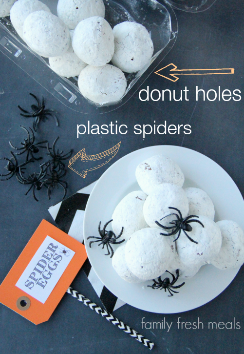 Fun Halloween Food Spider Egg Donuts - Halloween Appetizer - FamilyFreshMeals.com