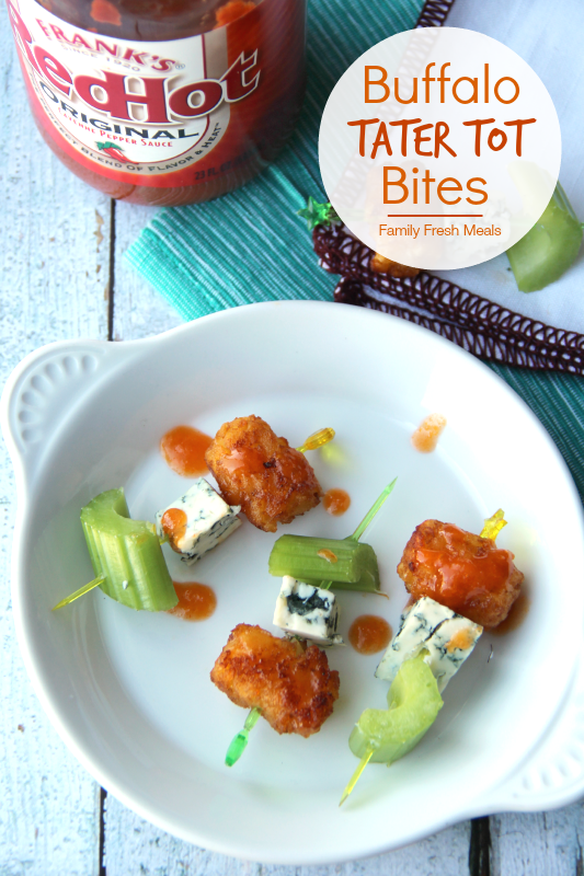 30 Easy Appetizers People LOVE - Buffalo Tater Tot Bites - FamilyFreshMeals.com
