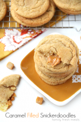 Soft and Chewy Caramel Filled Snickerdoodle Cookies - FamilyFreshMeals.com ---
