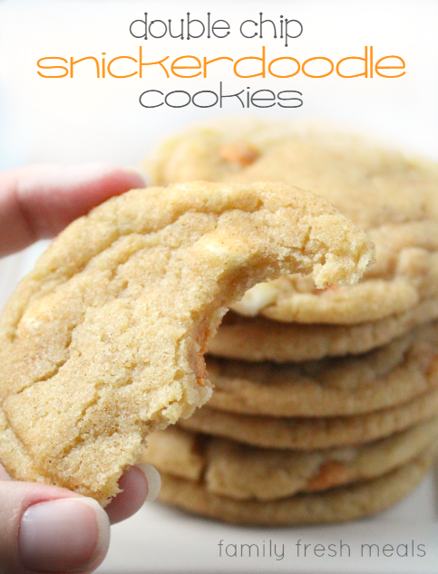 Soft and Chewy Double Chip Snickerdoodle Cookies - familyfreshmeals.com -amazing recipe - fb