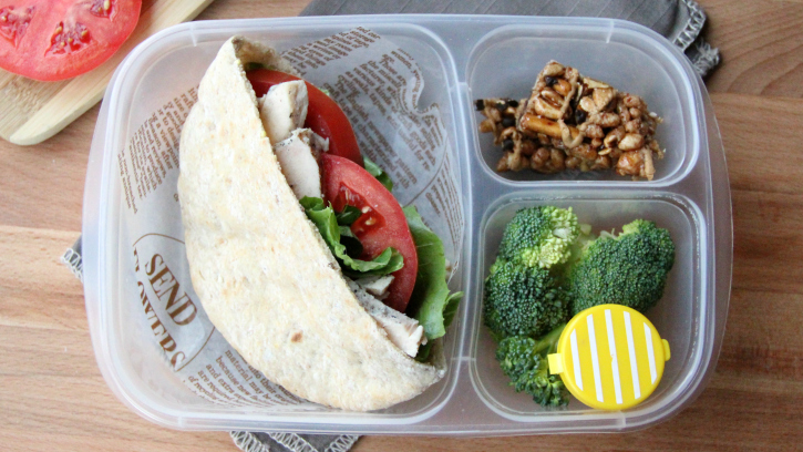 Healthy work lunch ideas - FamilyFreshMeals.com - Healthified Chicken Ceasar Pita