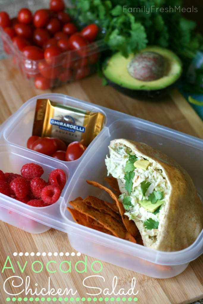 50 healthy work lunch ideas - FamilyFreshMeals.com - Avocado Chicken Salad Packed for lunch