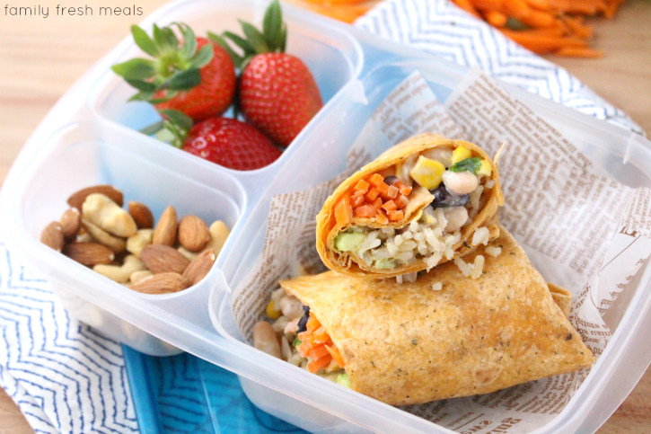 Easy Fiesta Ranch Veggie Wrap - Packed this healthy wrap for lunch!