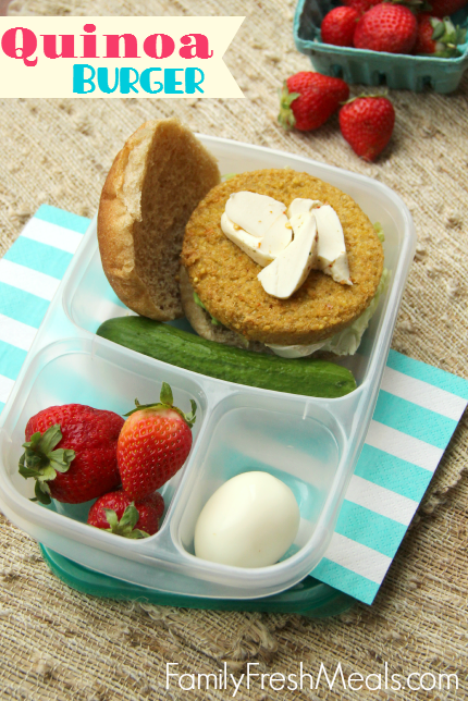 50 healthy work lunch ideas - FamilyFreshMeals.com - Quinoa Burger --- Work Lunchbox ideas - Family Fresh Meals