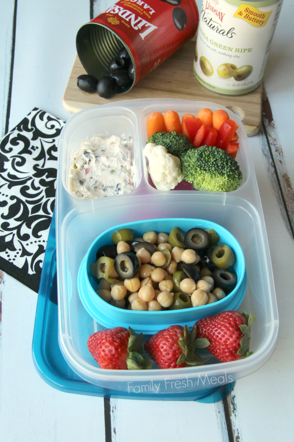 50 healthy work lunch ideas - FamilyFreshMeals.com - Chickpea salad and olive spread - familyfreshmeals.com