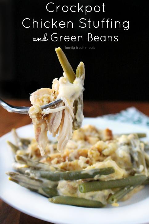 Creamy Crockpot Chicken Stuffing and Green Beans --- FamilyFreshMeals.com ---