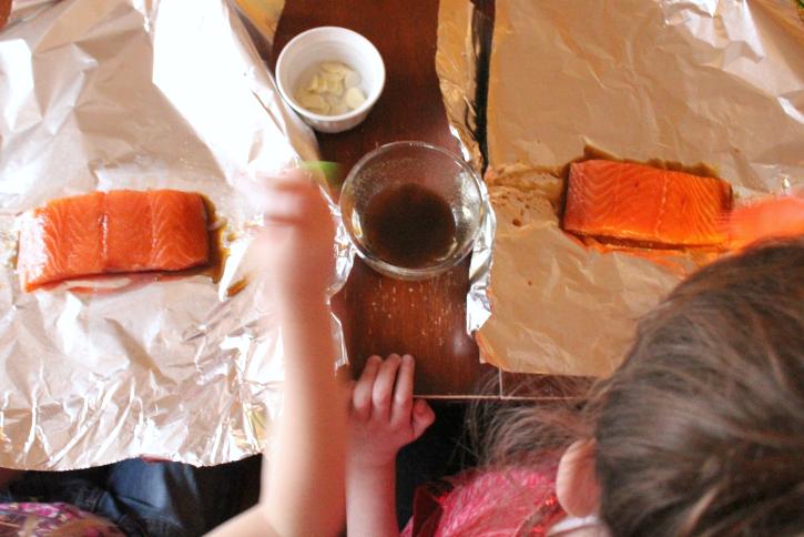 Easy Salmon Foil Packets - Step 1 -- FamilyFreshMeals.com -