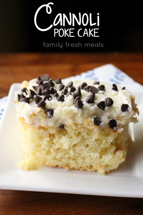 Easy Cannoli Poke Cake