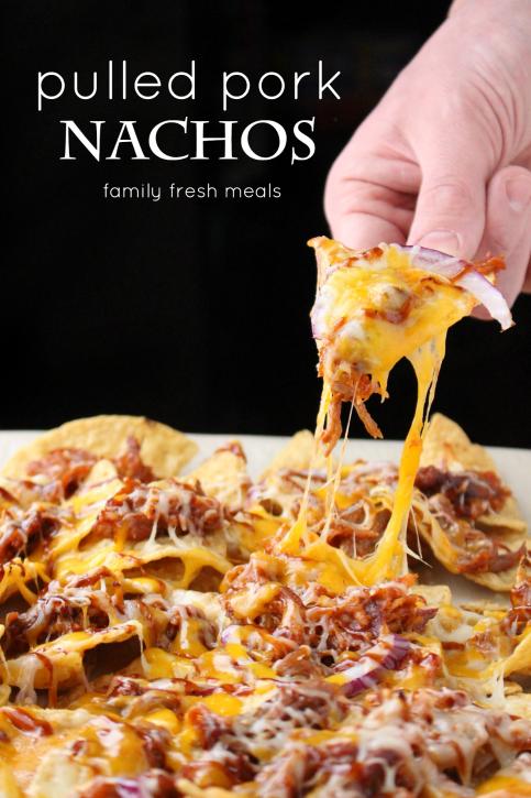 Pulled Pork Nachos - FamilyFreshMeals.com -