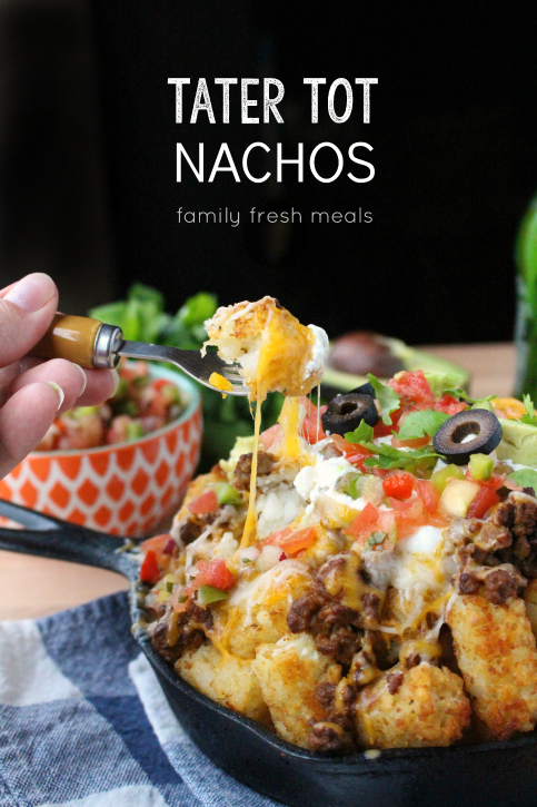 Tater Tot Nachos - FamilyFreshMeals.com - Best appetizer ever!