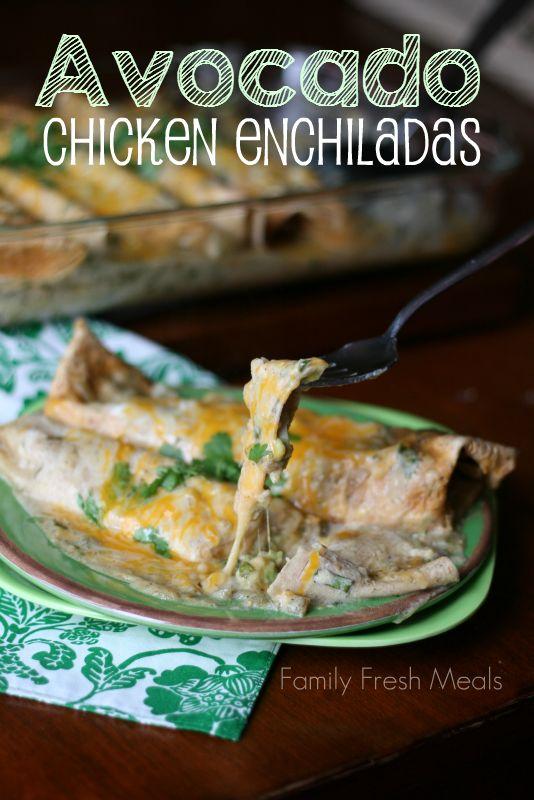 Avocado Chicken Enchiladas - FamilyFreshMeals.com