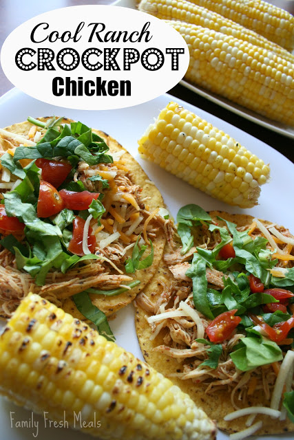 Cool Ranch Crockpot Chicken Tacos or Tostadas - Family Fresh Meals - 30 Easy Mexican Recipes