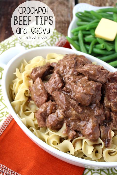 Easy Crockpot Beef Tips and Gravy - FamilyFreshMeals.com
