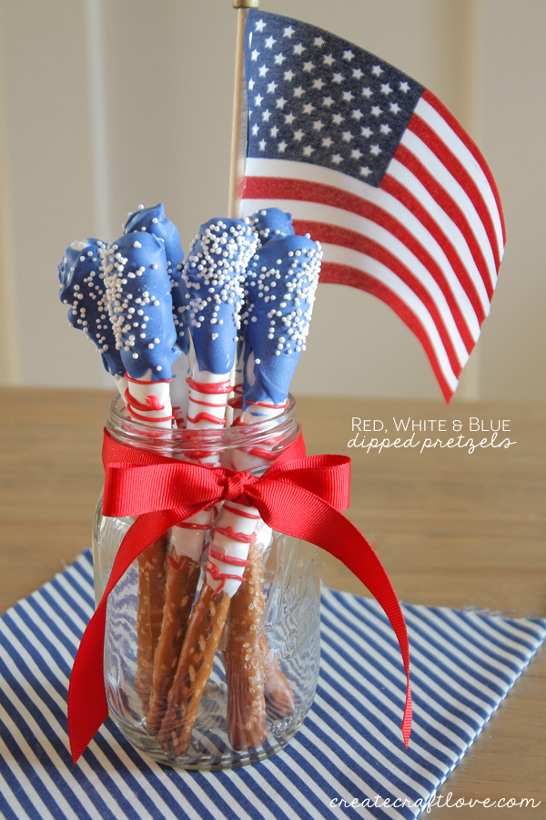 Red White and Blue Dipped Pretzels