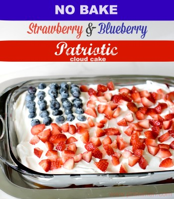 No Bake Strawberry Blueberry Patriotic Cloud Cake-