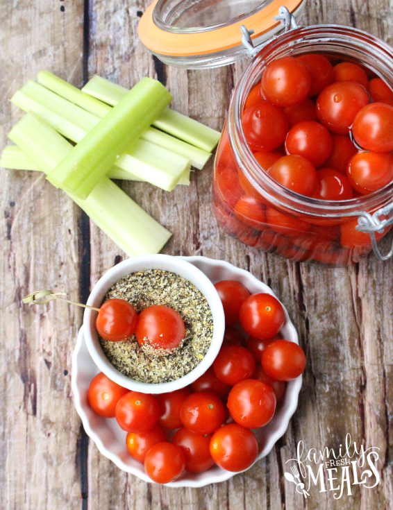 Boozy Bloody Mary Tomato Bombs - Love this appetizer - Step 1 -  FamilyFreshMeals.com