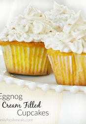 Eggnog Cream Filled Cupcakes