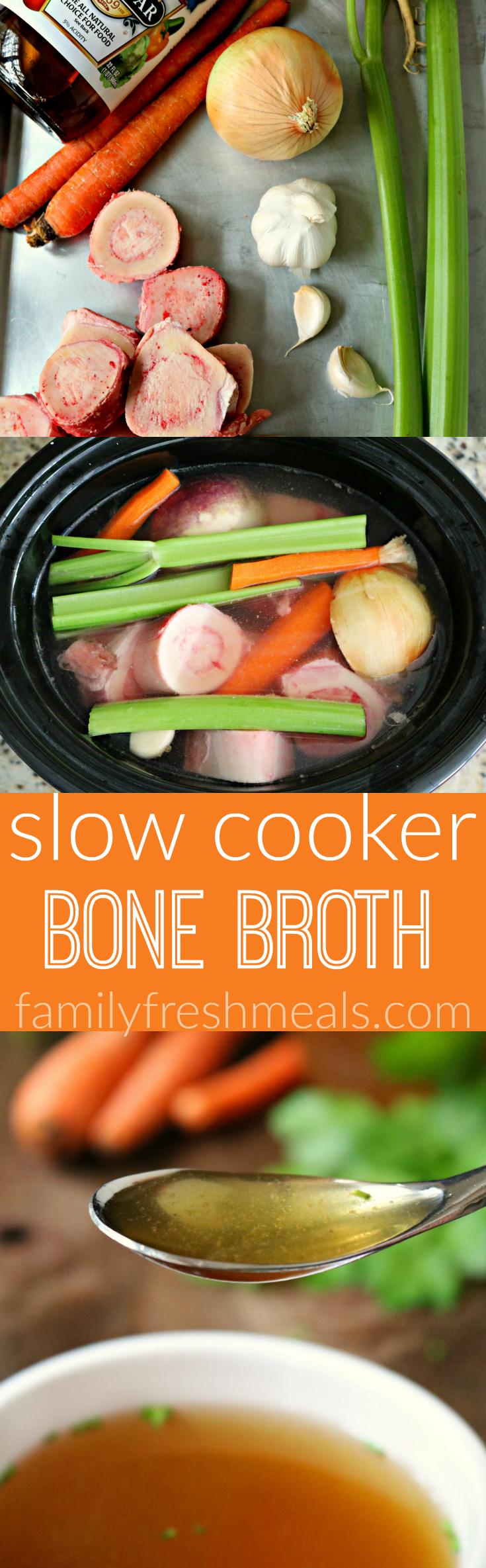Slow Cooker Bone Broth -- FamilyFreshMeals.com -