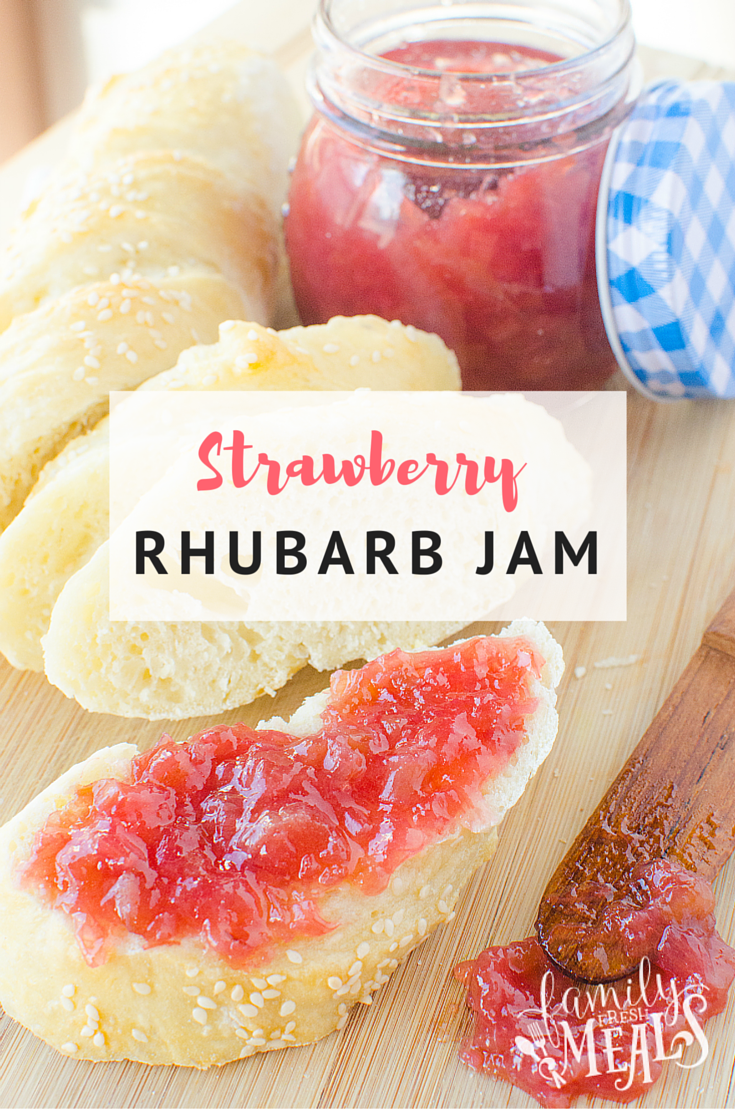 Easy Strawberry Rhubarb Jam - FamilyFreshMeals.com -