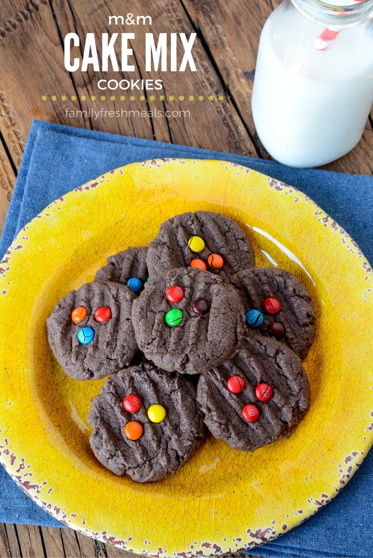 M&M Chocolate Cake Mix Cookies