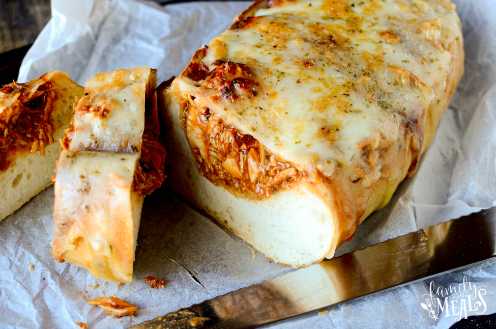 BBQ Chicken Stuffed Bread - Cut into slices and enjoy! - FamilyFreshMeals.com