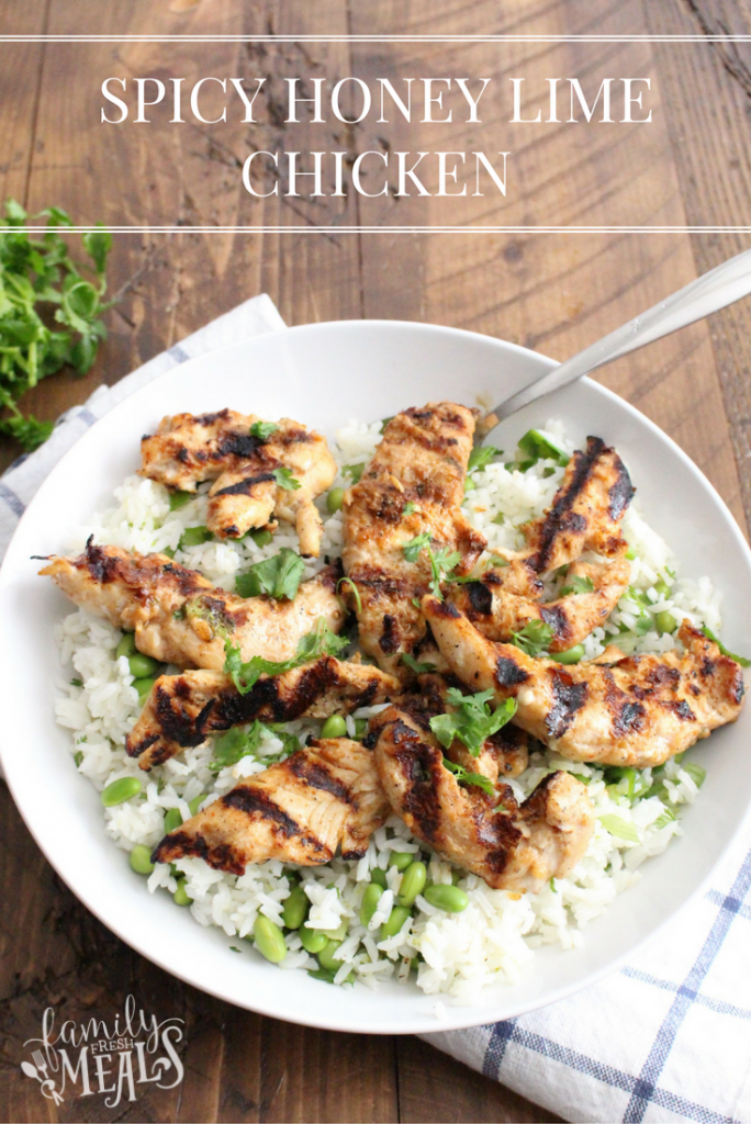 Terra's Kitchen Spicy Honey Lime Chicken and Edamame Rice - Yummy easy recipe the family loves - FamilyFreshMeals.com