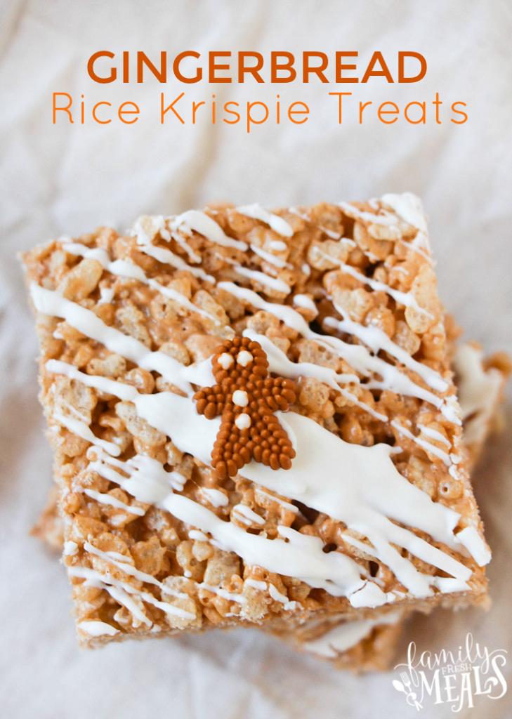 Gingerbread Rice Krispie Treats - familyfreshmeals.com