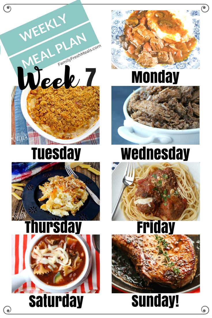 Easy Weekly Meal Plan Week 7