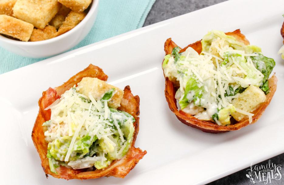 Caesar Salad Bacon Cups - Fun way to serve salads