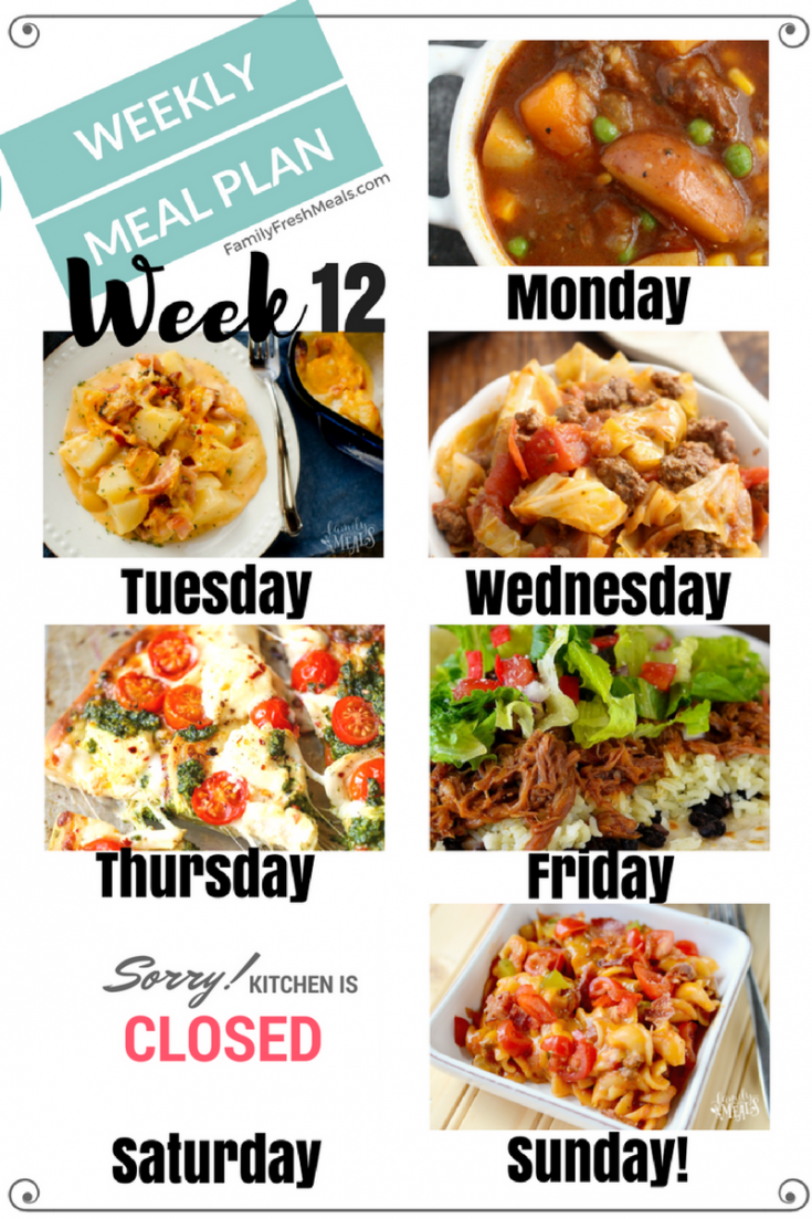 Easy Weekly Meal Plan Week 12