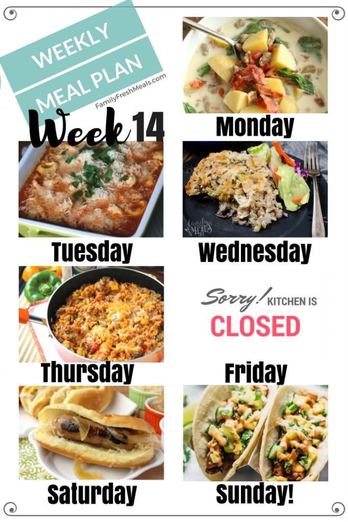 Easy Weekly Meal Plan Week 14