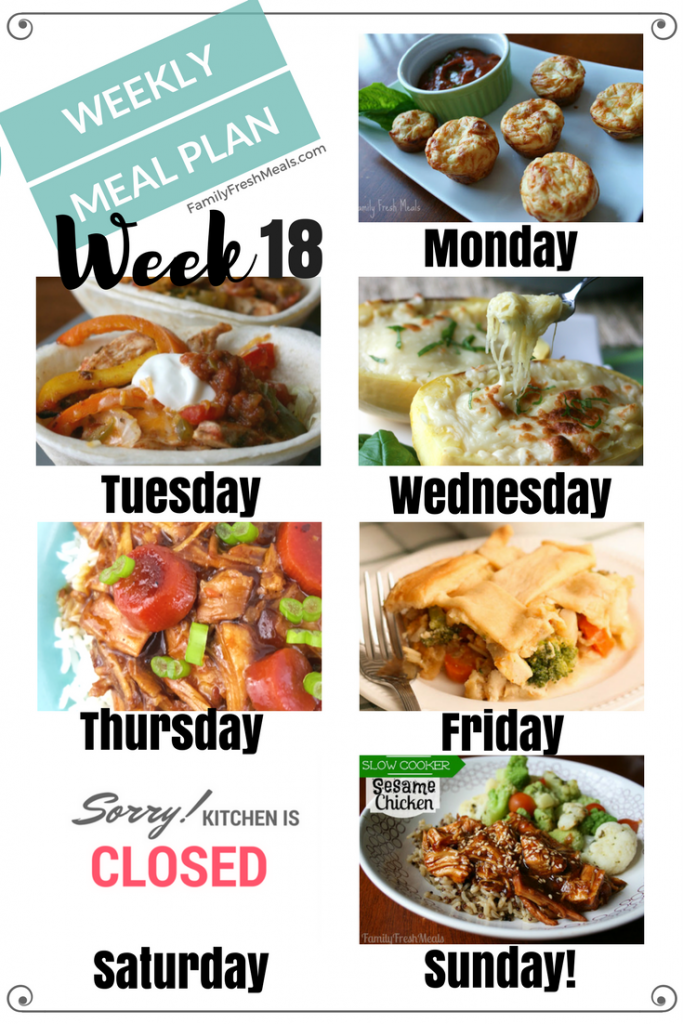 Easy Weekly Meal Plan Week 18